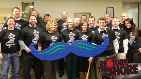 "The Legends' front office staff donned ""Restore the Shore"" T-shirts in support of the Lakewood BlueClaws' campaign to help victims of Hurricane Sandy."