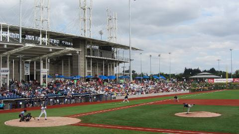 Parr bats in Hillsboro, where his June 17 homer was the first at the park.
