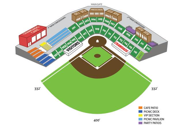 l.p. frans stadium seating chart   hickory crawdads l.p