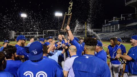 The Dunedin Blue Jays celebrate the first Florida State League championship in team history.