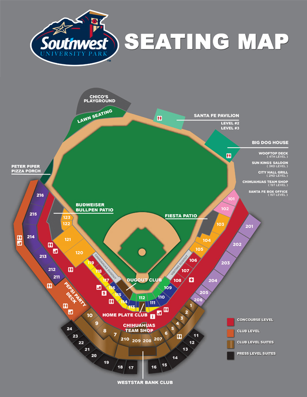 Season Seat Map And Benefits El Paso Chihuahuas Tickets