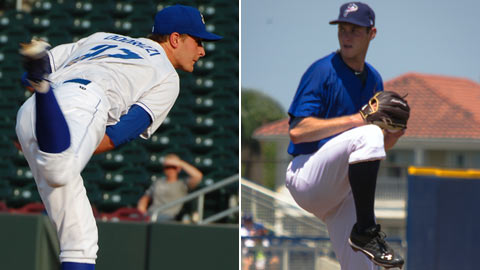 Jake Odorizzi (left) and Tony Cingrani (right) are among the Minors' best fielding pitchers.