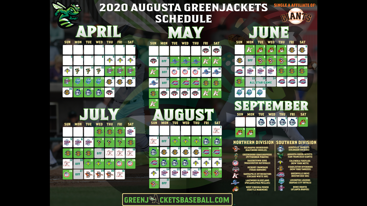 Giants Schedule 2020.Greenjackets Announce 2020 Schedule Augusta Greenjackets News