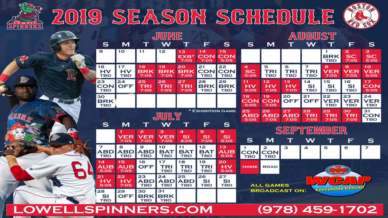 image regarding Celtics Printable Schedule identify Lowell Spinners Announce 2019 Timetable Lowell Spinners Information