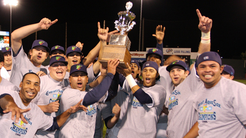 The AquaSox celebrate their first championship since 1985.