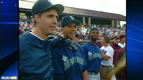 A scene from the 1996 home run derby. From left: Dan Wilson, Alex Rodriguez and Ken Griffey Jr.