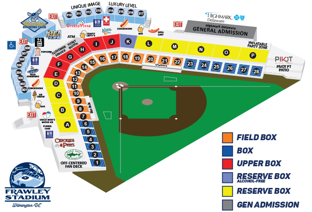 Frawley stadium seating chart wilmington blue rocks ballpark info