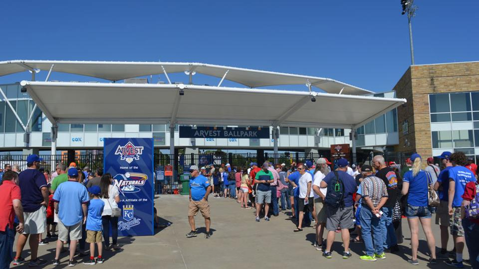 34e6fb061 Fans line up for a Saturday Giveaway at Arvest Ballpark. (NWA Naturals)