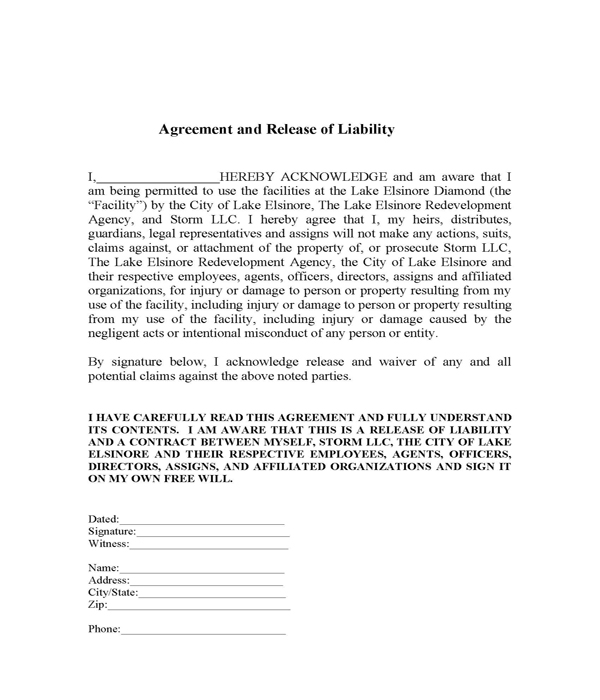 Agreement And Release Of Liability | Lake Elsinore Storm Content