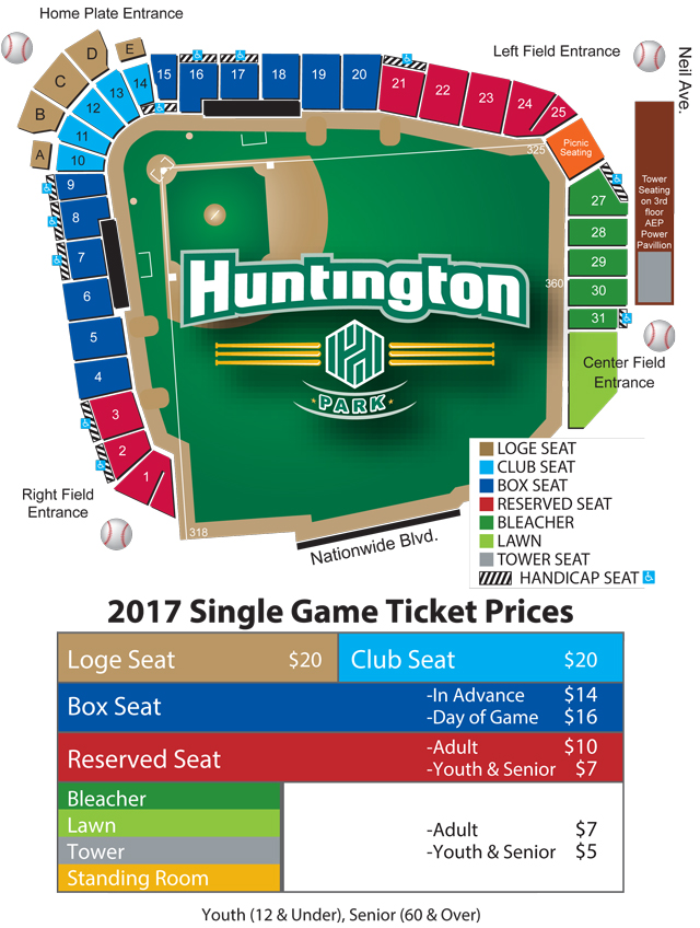 Seating Chart | Columbus Clippers Huntington Park