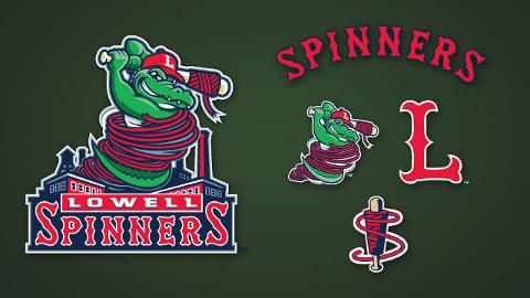 The Lowell Spinners' new logos, created by FS Design, incorporate mascot Canaligator as well as the city's mill-dominated skyline.