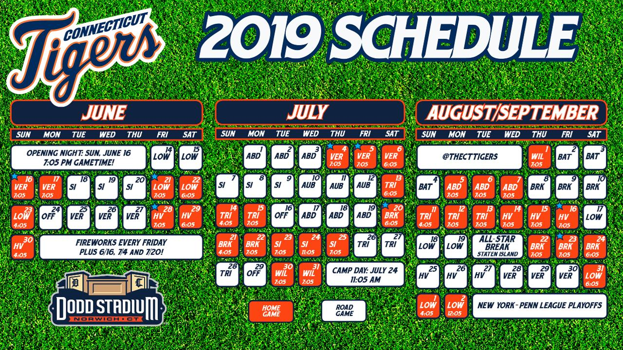photo relating to Printable Detroit Tigers Schedule referred to as CT Tigers Launch 2019 Routine Connecticut Tigers Information