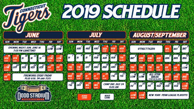 picture relating to Tigers Printable Schedule named CT Tigers Launch 2019 Program Connecticut Tigers Information