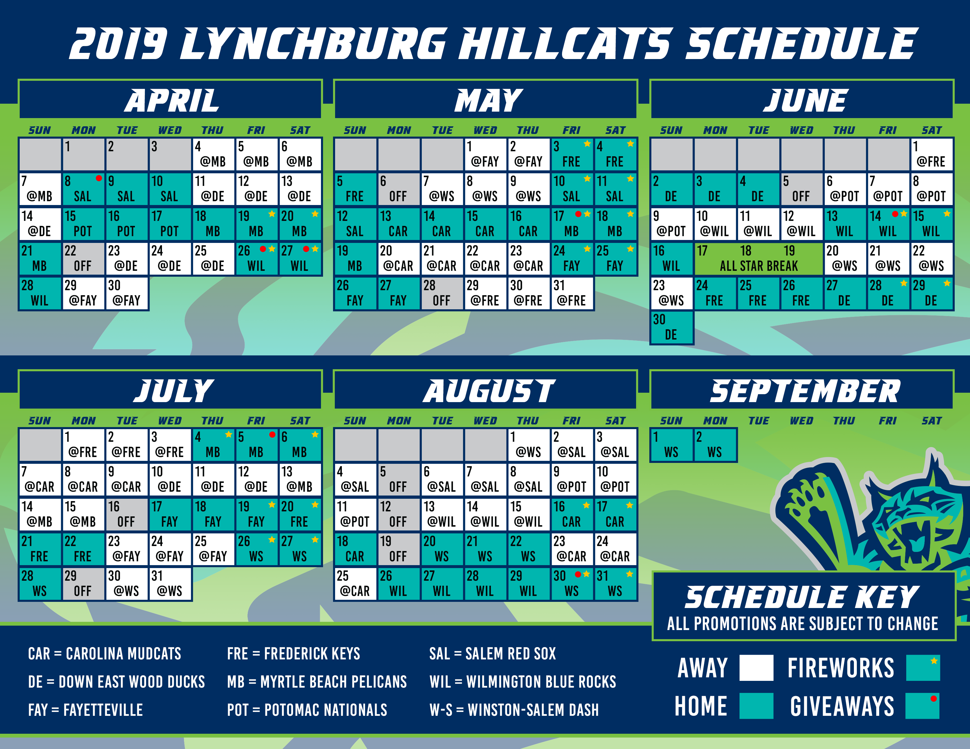 photo about Cleveland Indians Printable Schedule titled Lynchburg Hillcats Timetable Routine Hillcats