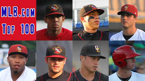 Top row (L to R): Oscar Taveras, Carlos Correa, Mark Appel. Bottom row (L to R): Jonathan Singleton, Lance McCullers, Kolten Wong, Stephen Piscotty