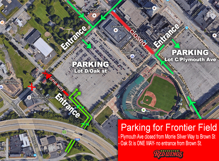 UPDATED Parking Information for Frontier Field | Rochester Red Wings ...
