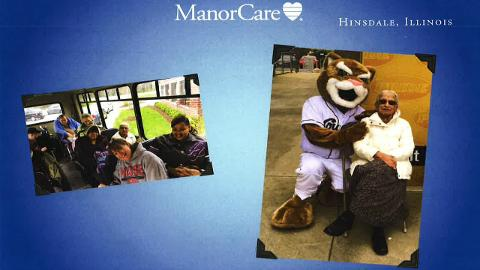 Kamala is pictured above with Ozzie T. Cougar (Image courtesy of ManorCare - Hinsdale)