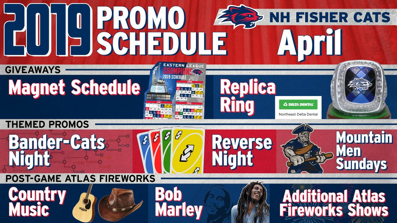 Fisher Cats Schedule 2019 April Promotions: Replica Ring Giveaway, Choose Your Own Adventure