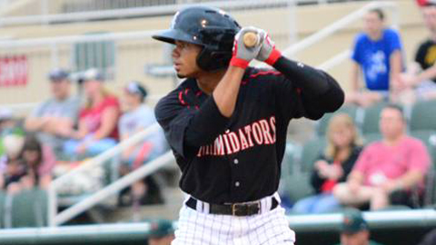 Jacob May drove in an Intimidators season-high five runs Monday.