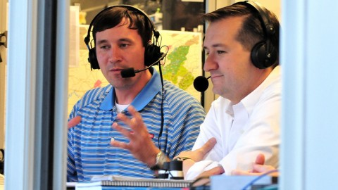 Mick Gillispie (left) sits in with Cubs Chairman Tom Ricketts at Smokies Park.