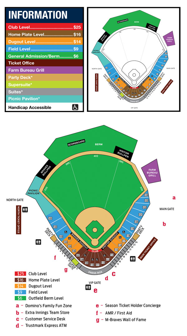 Braves Stadium Map Trustmark Park Seating Chart | Braves Braves Stadium Map