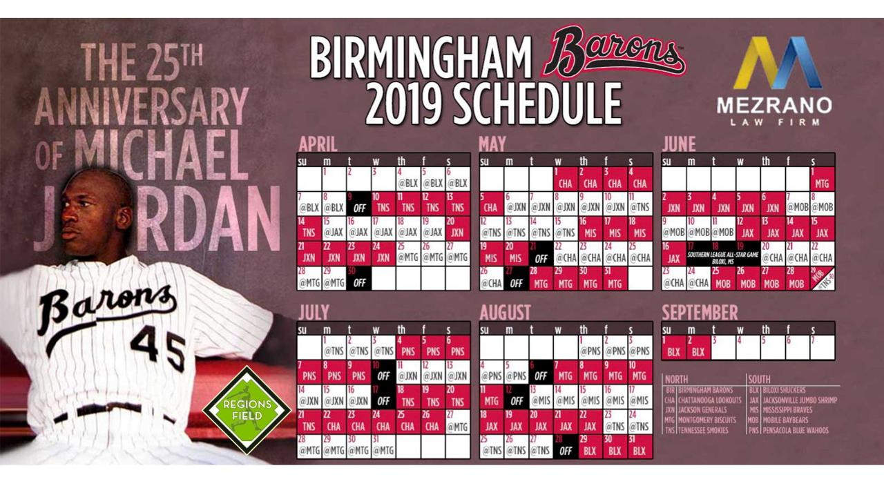 photo relating to White Sox Printable Schedule named Barons Launch Comprehensive 2019 Program Birmingham Barons Information
