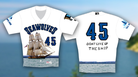 Erie's jerseys feature the Flagship Niagara, which helped defeat British ships on Sept. 10, 1813.
