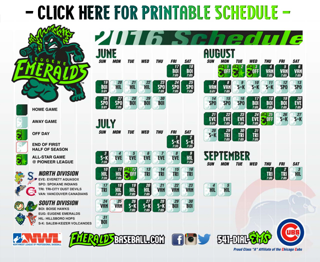 photo relating to Chicago Cubs Printable Schedule named Emeralds Announce 2016 Agenda Eugene Emeralds Information