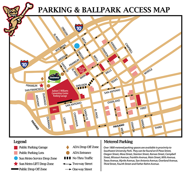 Parking Amp Transportation El Paso Chihuahuas Southwest