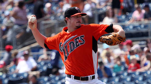 Mike Wright tossed 6.2 shutout innings in his Triple-A debut Monday.