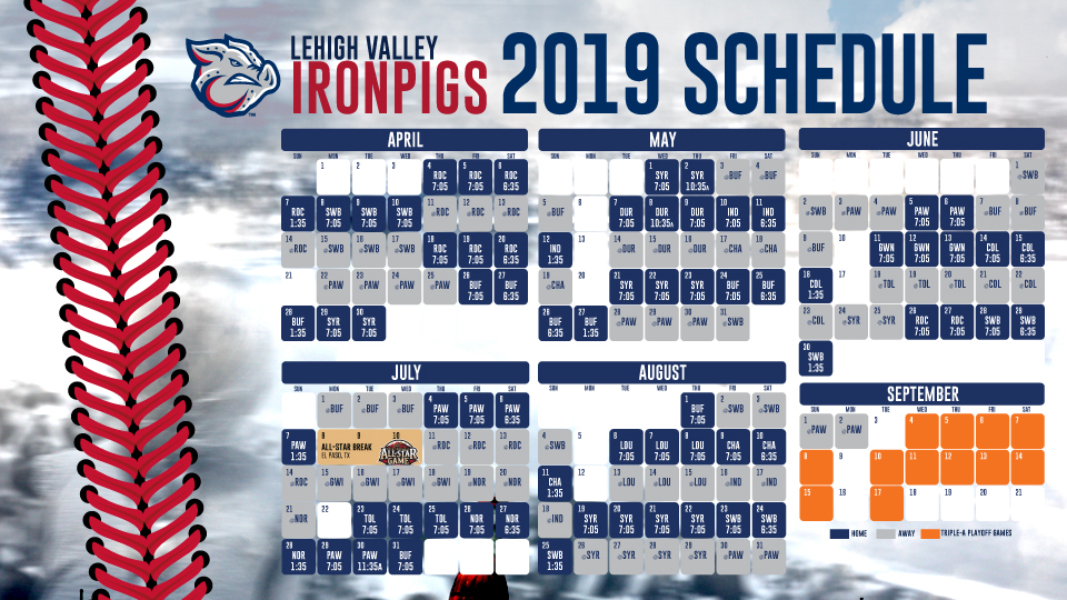 image relating to Yankees Printable Schedule titled IronPigs announce 2019 plan Lehigh Valley IronPigs Information