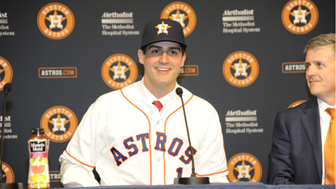 Mark Appel was introduced June 19 at a press conference at Minute Maid Park.
