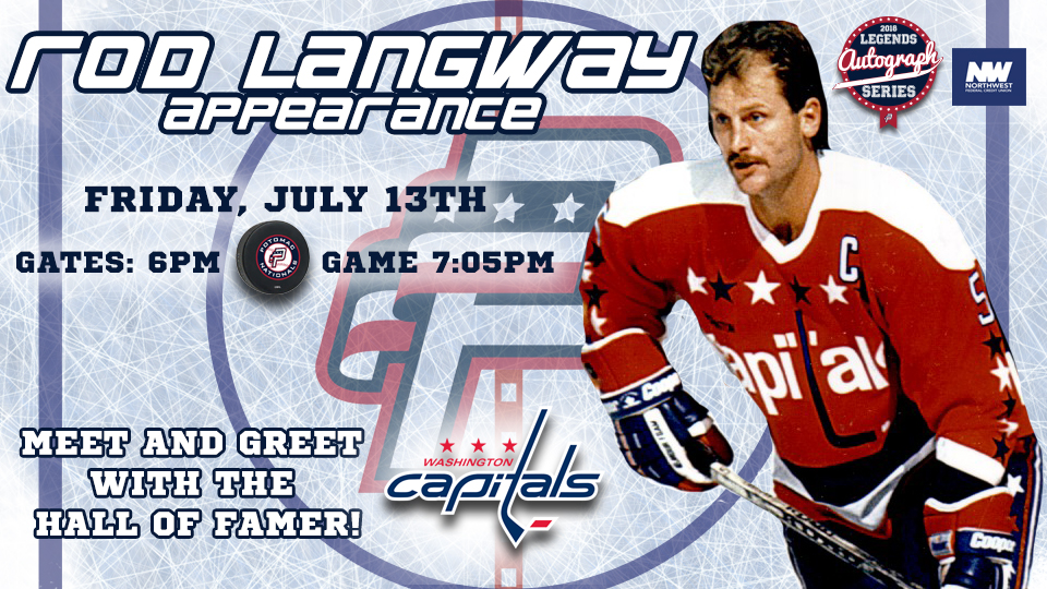 Rod Langway Autograph Appearance on Friday, July 13th Added