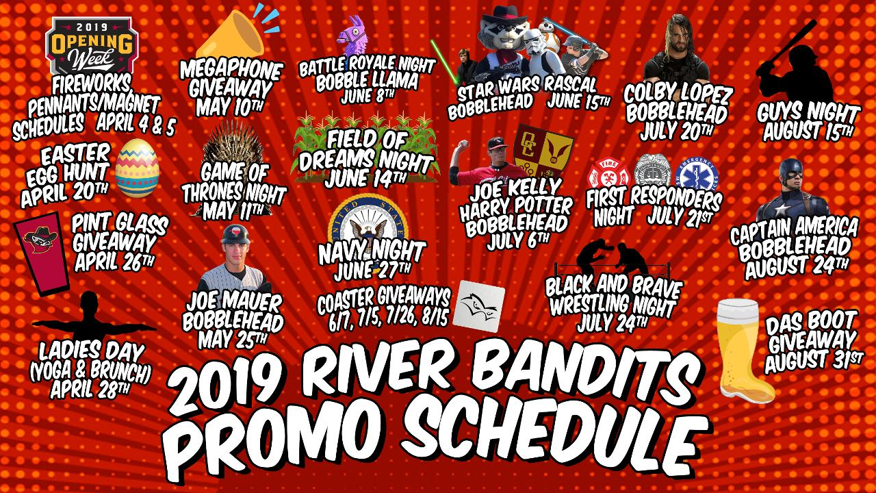 River Bandits Unveil 2019 Promo Schedule | Quad Cities River
