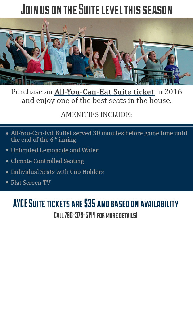 All You Can Eat Suite Ticket | Rome Braves Tickets
