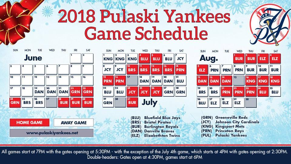 Pulaski Yankees Announce 2018 Schedule | Pulaski Yankees News