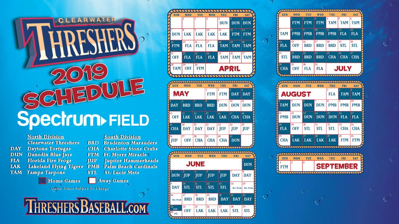Clearwater Threshers 2019 Game Schedule