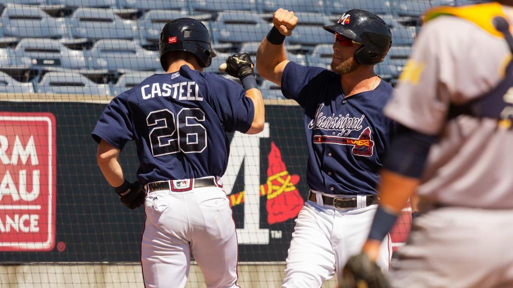 Casteel's 20th homer isn't enough for M-Braves on Saturday night