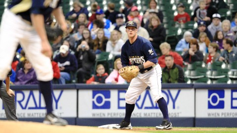 Greg Hopkins plays first base at Miller Park one day after his walkoff home run.  Hopkins, was an all-star second baseman, and also played third for the Rattlers during the 2012 season.