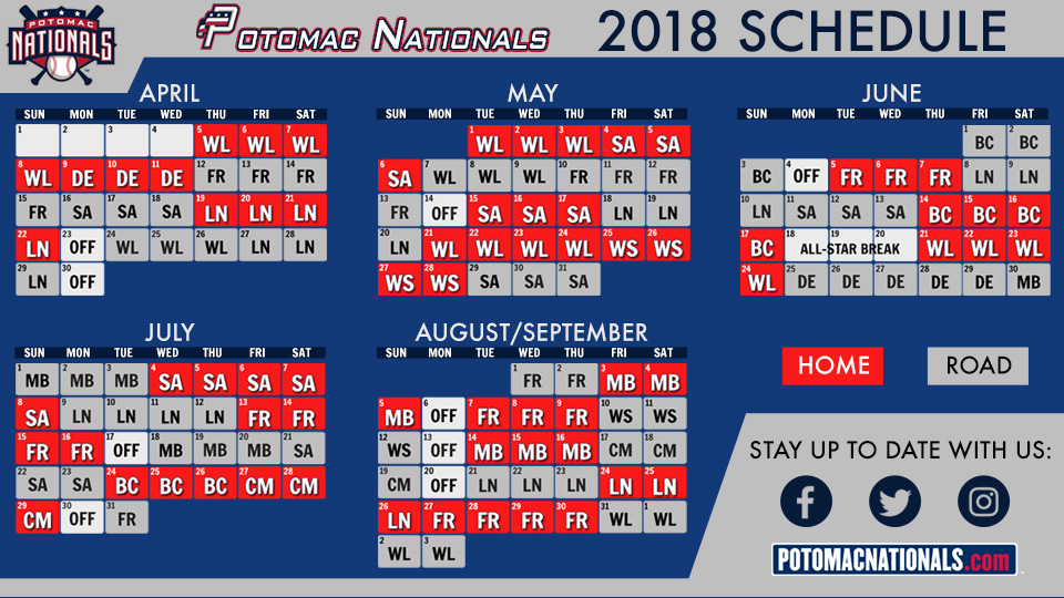Potomac Nationals Unveil 2018 Schedule Potomac Nationals News