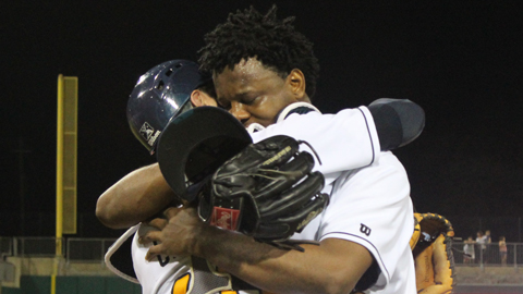 Victor Mateo embraces catcher Curt Casali after his no-hitter.