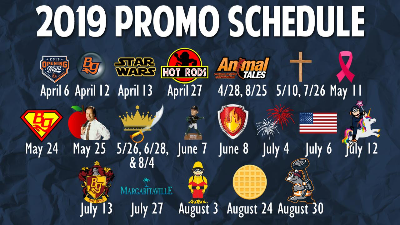 Hot Rods Announce 2019 Promotional Schedule | Bowling Green Hot Rods