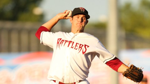Preston Gainey allowed one hit over seven scoreless innings against the Clinton LumberKings on July 24, 2013 to pick up his fourth win of the season.
