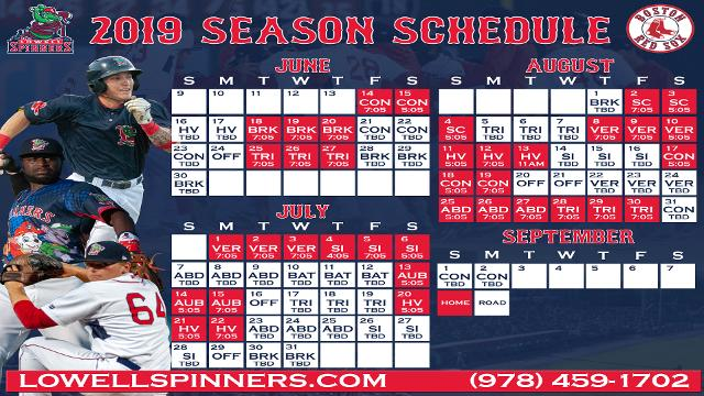 lowell spinners announce 2019 schedule