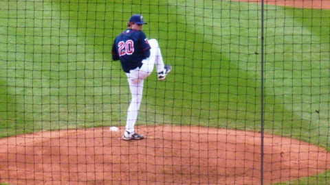 Cedar Rapids Kernels starting pitcher pitched six shutout innings to earn the win in game one of Tuesday's doubleheader.