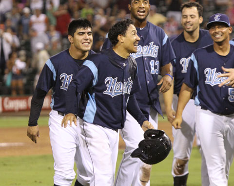 Ronny Torreyes delivered a game-tying, bases-loaded triple in the bottom of the ninth inning to tie the game at 9. He scored the game-winning run on Preston Tucker's infield single.