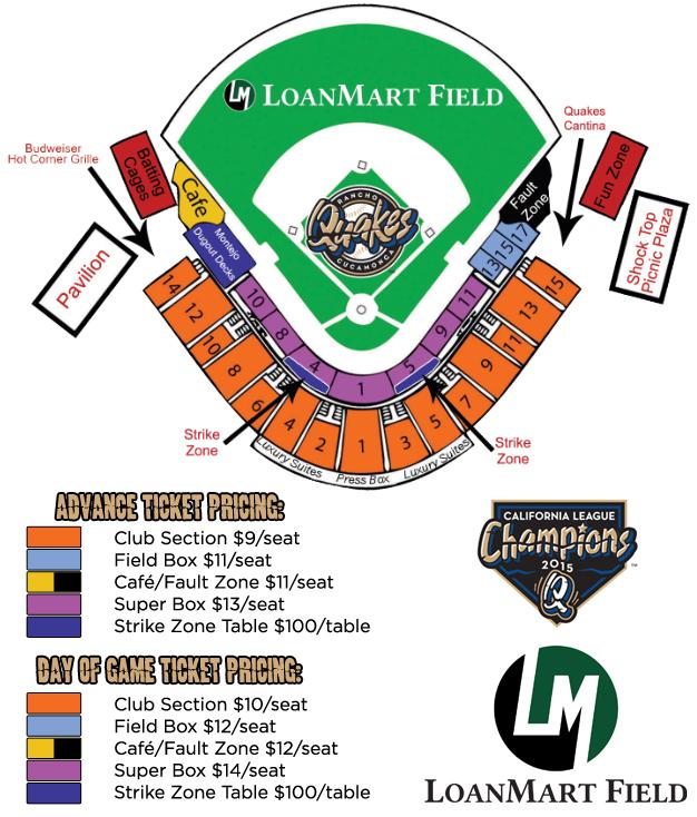 Quakes Baseball Seating Chart Trinity