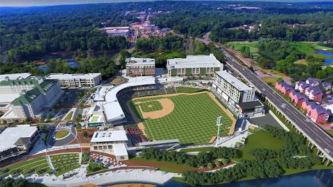 A computer rendering of North Augusta's proposed waterfront ballpark, which would serve as the GreenJackets' new home.