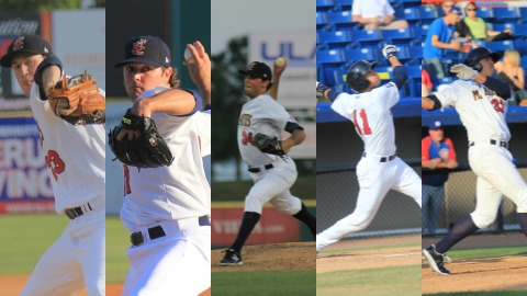 Starting pitchers Brooks Hall and David Goforth, relief pitcher Seth Harvey, catcher Cameron Garfield and first baseman Nick Ramirez (from left to right) were selected to represent the Brevard County Manatees in the 2013 Florida State League All-Star Game in Dunedin on June 15.
