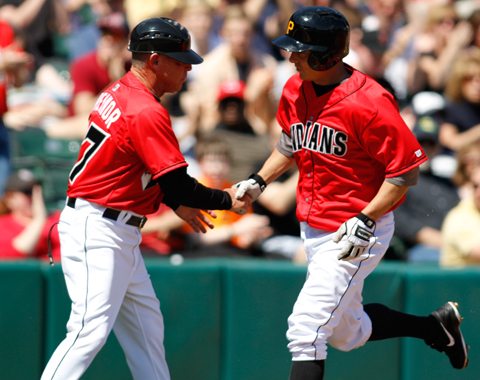 2B Brandon Inge hit a solo homer in the first inning of the Tribe's 3-0 win on Sunday.